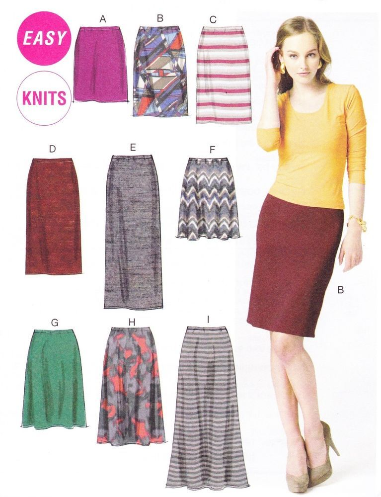 Mccalls 6654 Easy Sewing Pattern To Make Stretch Knit Skirts In 7
