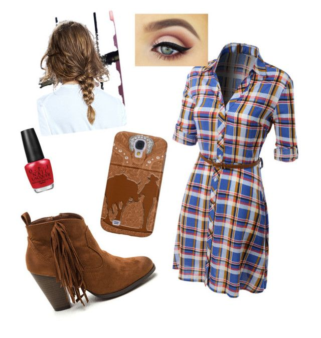 """Cowgirl up"" by cmakoff ❤ liked on Polyvore featuring LE3NO and OPI"