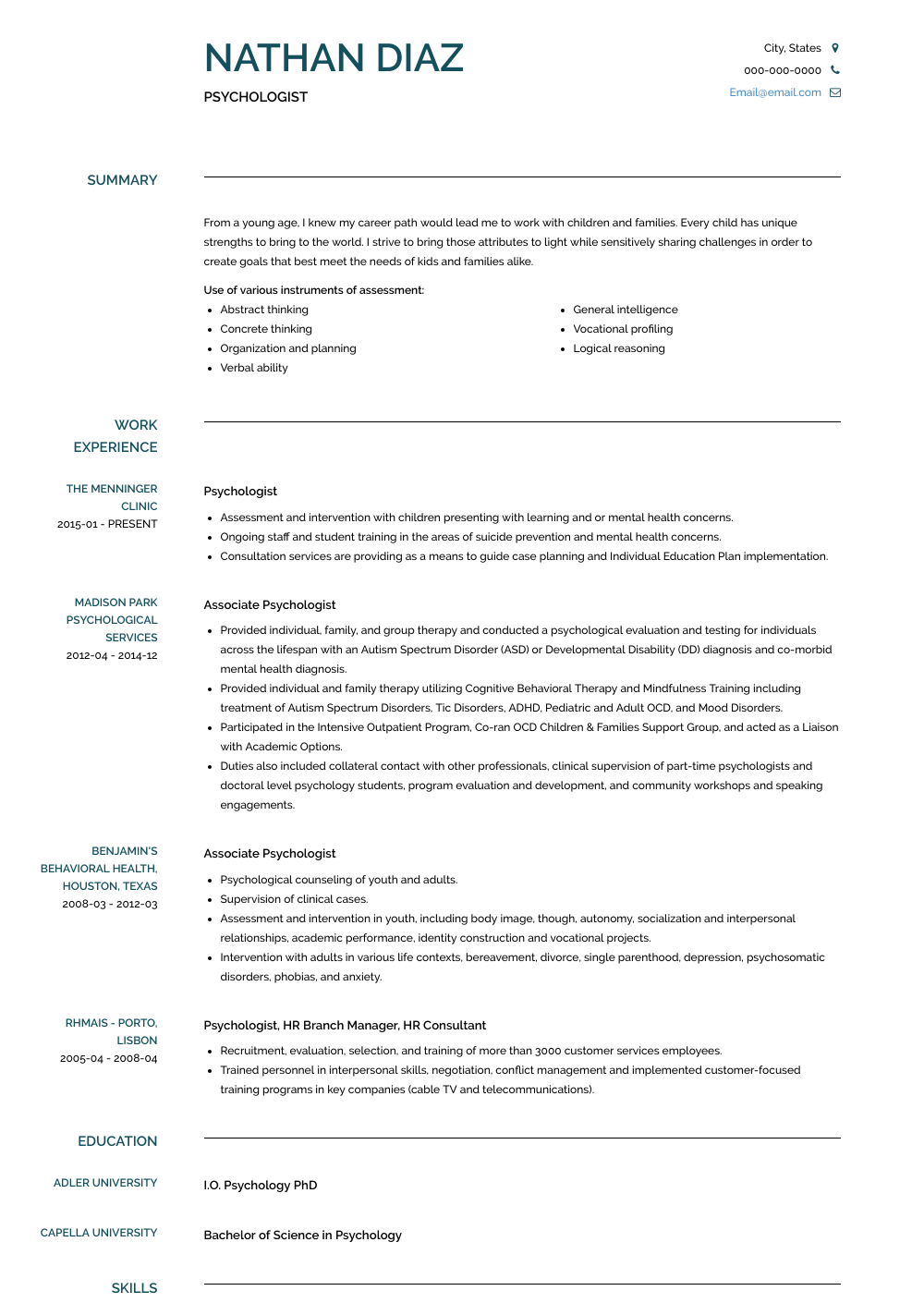Psychologist Resume Samples Templates Visualcv Job Interview Advice This Or That Questions Psychologist