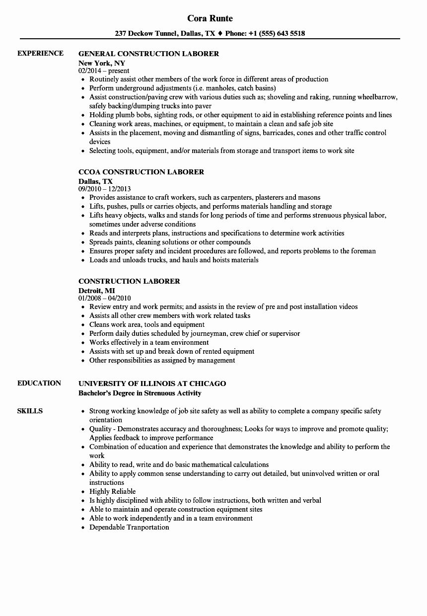 General Laborer Resume Job Description Unique Construction