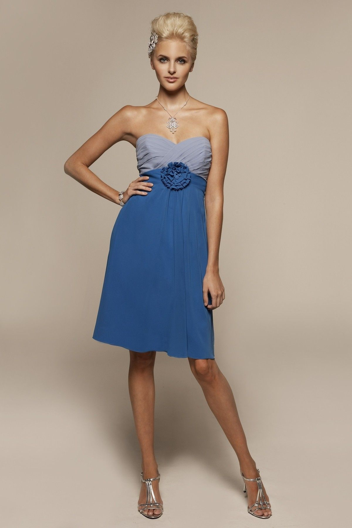Kate schwend this one is blue and gray strapless chiffon dress with