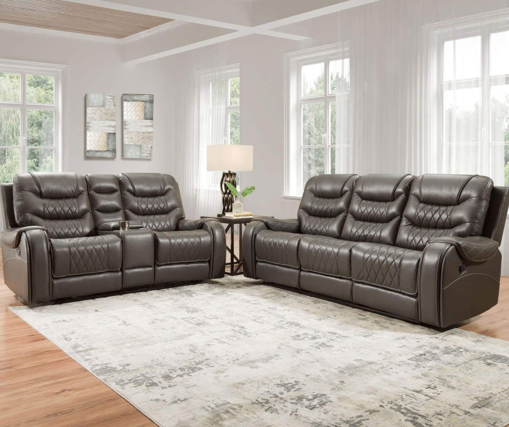 Lane Home Solutions Brighton Gray Faux Leather Motion Sofa