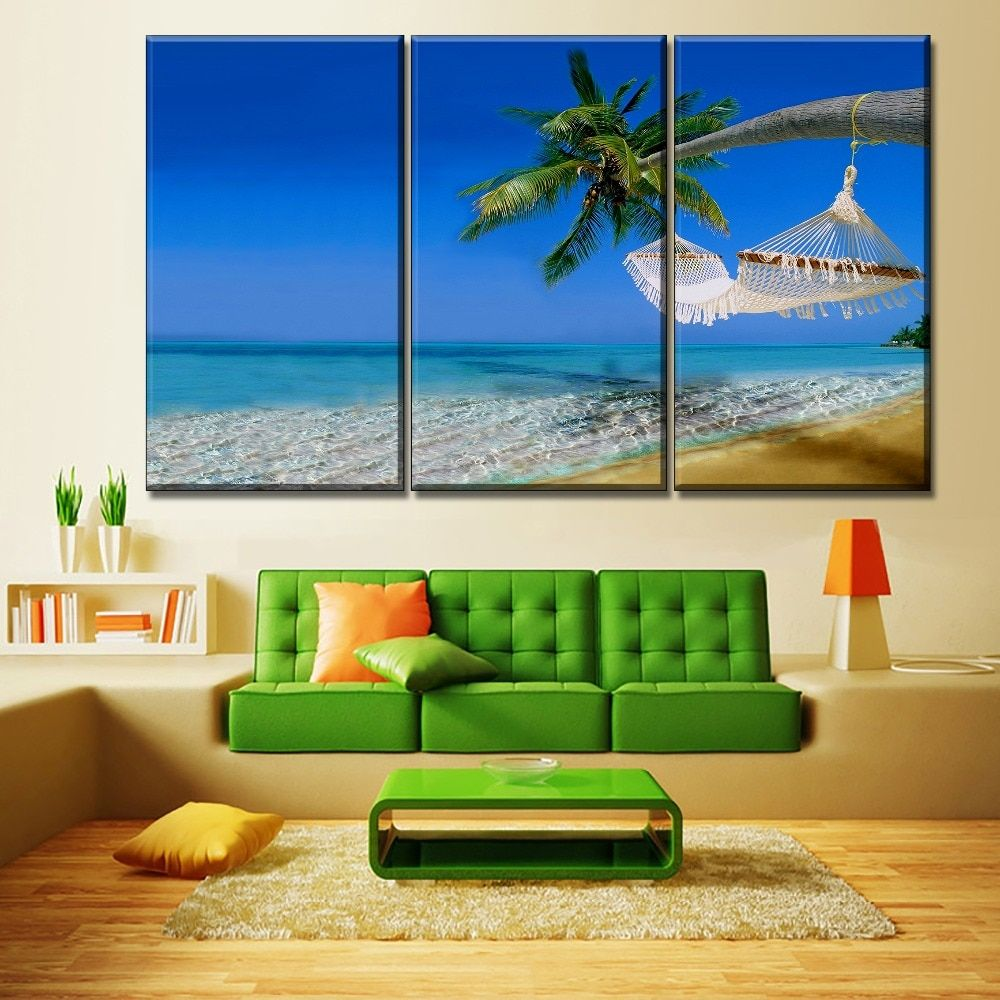 Tropical Beach Coconut Trees Nature 3 Pieces Canvas Wall Art In
