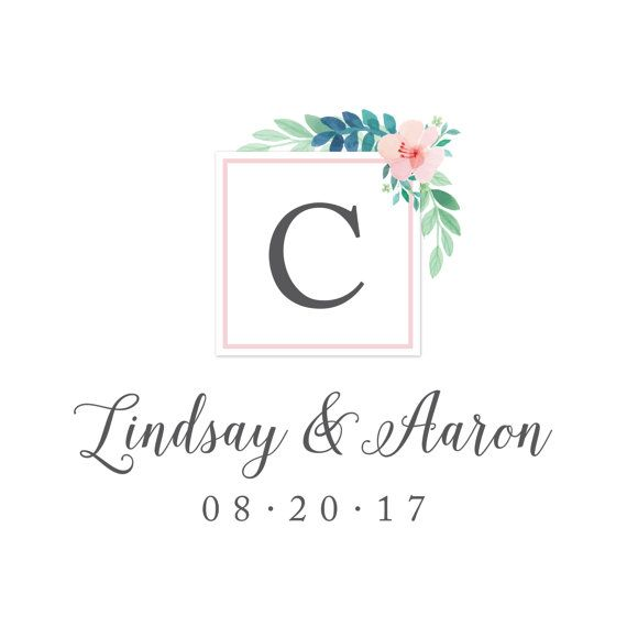 Custom wedding monogram / logo in the Floral Watercolor Collection by Type Ten on @etsy  #pink #gray #green #flowers #diy