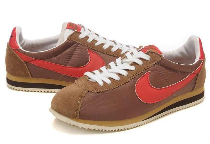 lowest price 81665 a65bf Pas Cher Destock Nike Cortez Nylon Vintage - Marron Rouge Blanc - Homme  Baskets