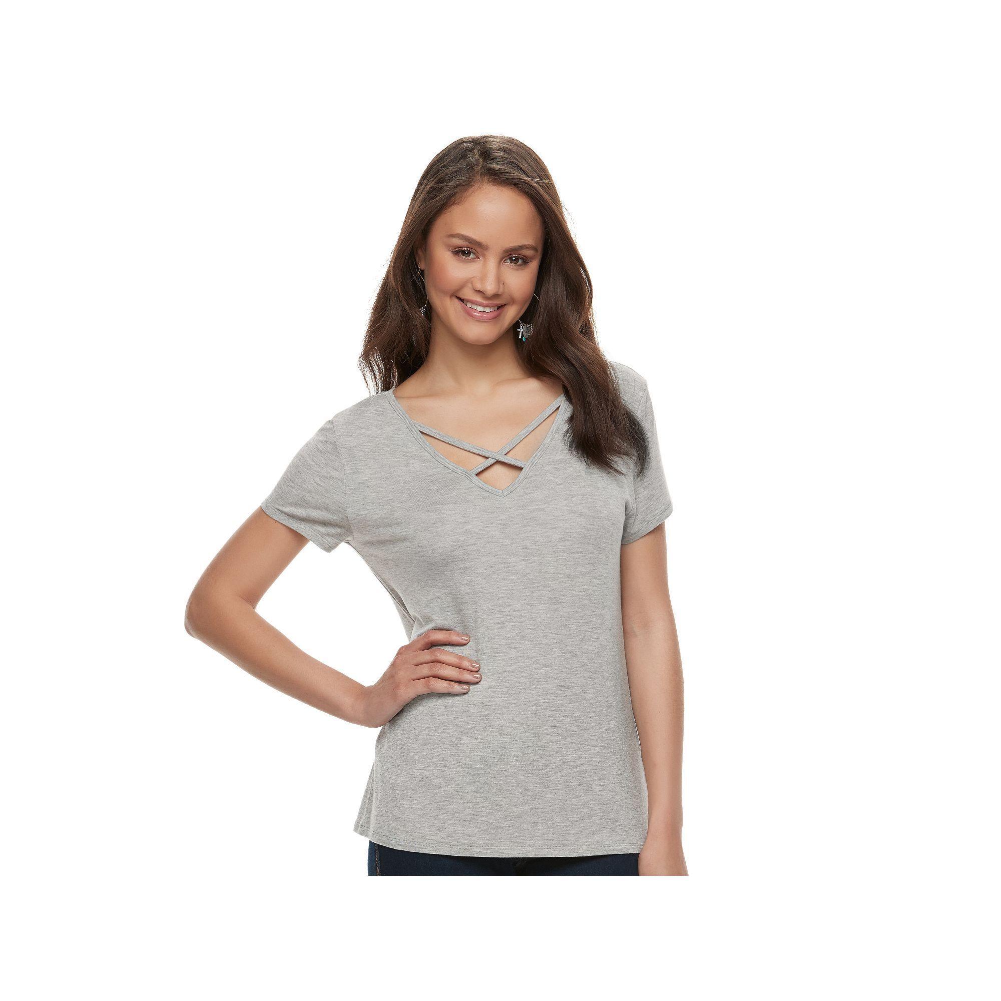 Juniors' SO® Solid Crisscross Tee, Teens, Size: Medium, Grey