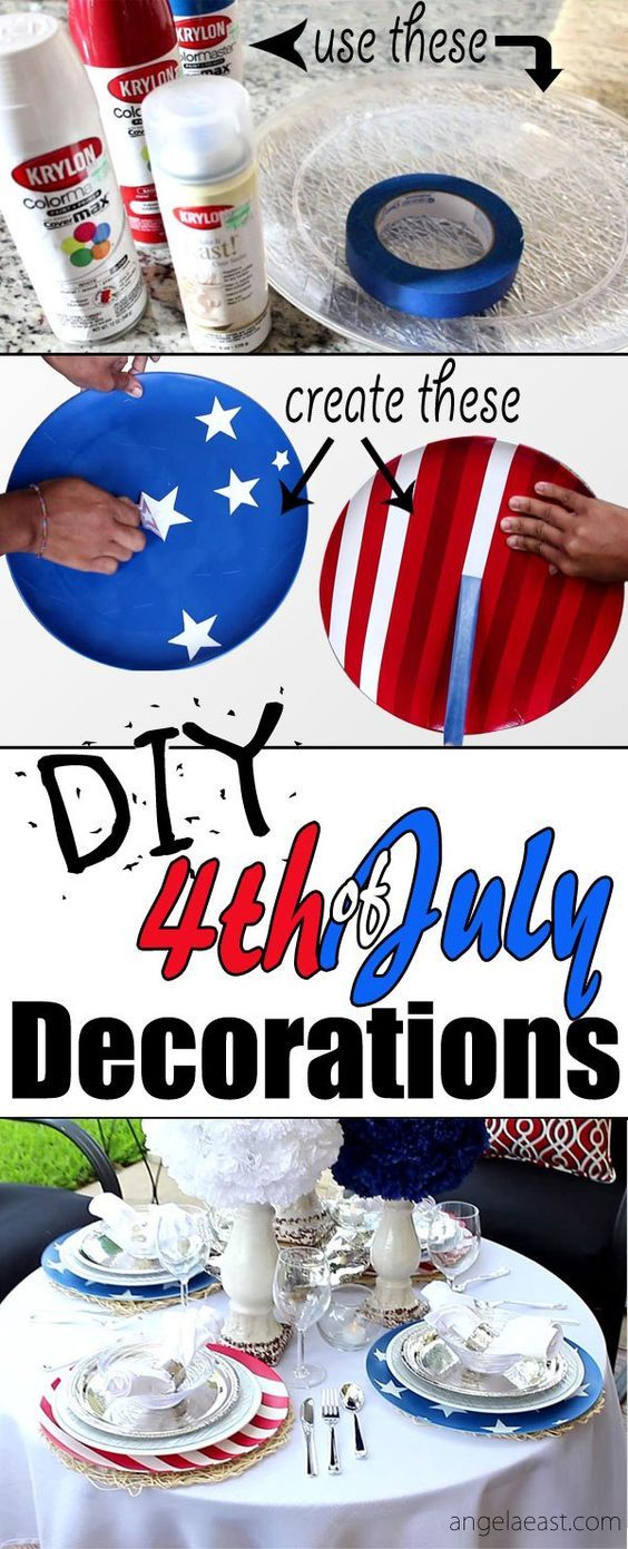 Diy Fourth Of July Decorations Stars Stripes Chargers Angela East Fourth Of July Decorations Fourth Of July Fourth Of July Decor