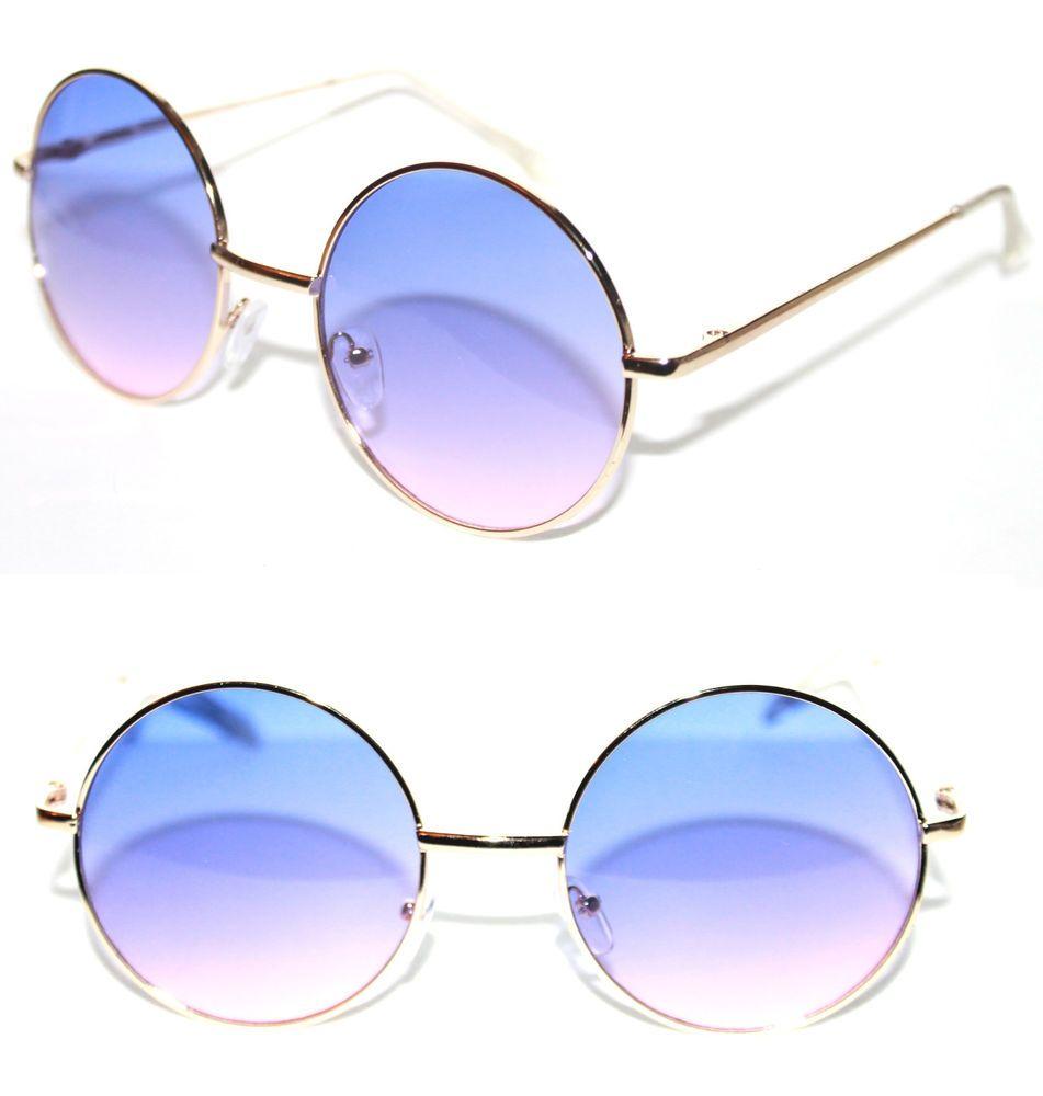 d27aa89a4 Women's Round Shape Sunglasses two tone Gradient lens Blue Pink Potter  Retro M #Stars #