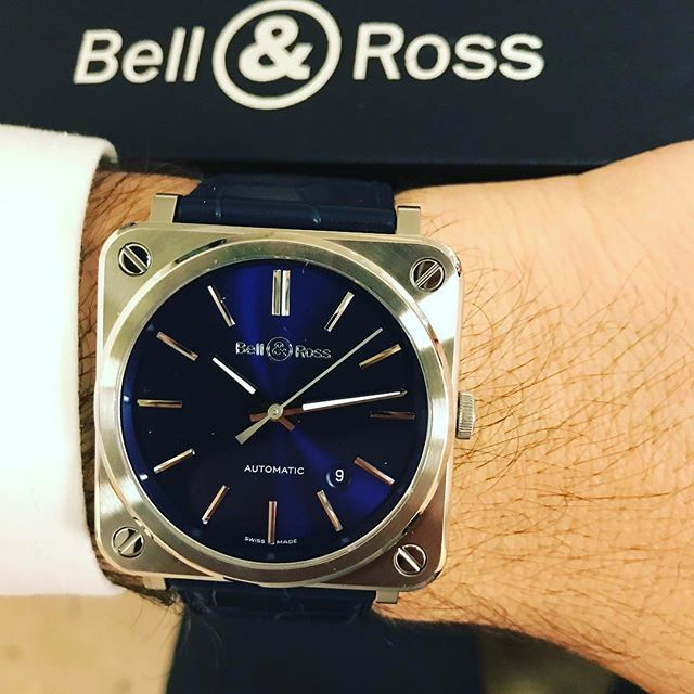 REPOST!!!  New stunning blue Bell&Ross, what do you think? @bellrosswatches #bellandross #baselworld2017 #newblue #followforfollow #natostrapsuk  Photo Credit: Instagram ID @natostrapsuk