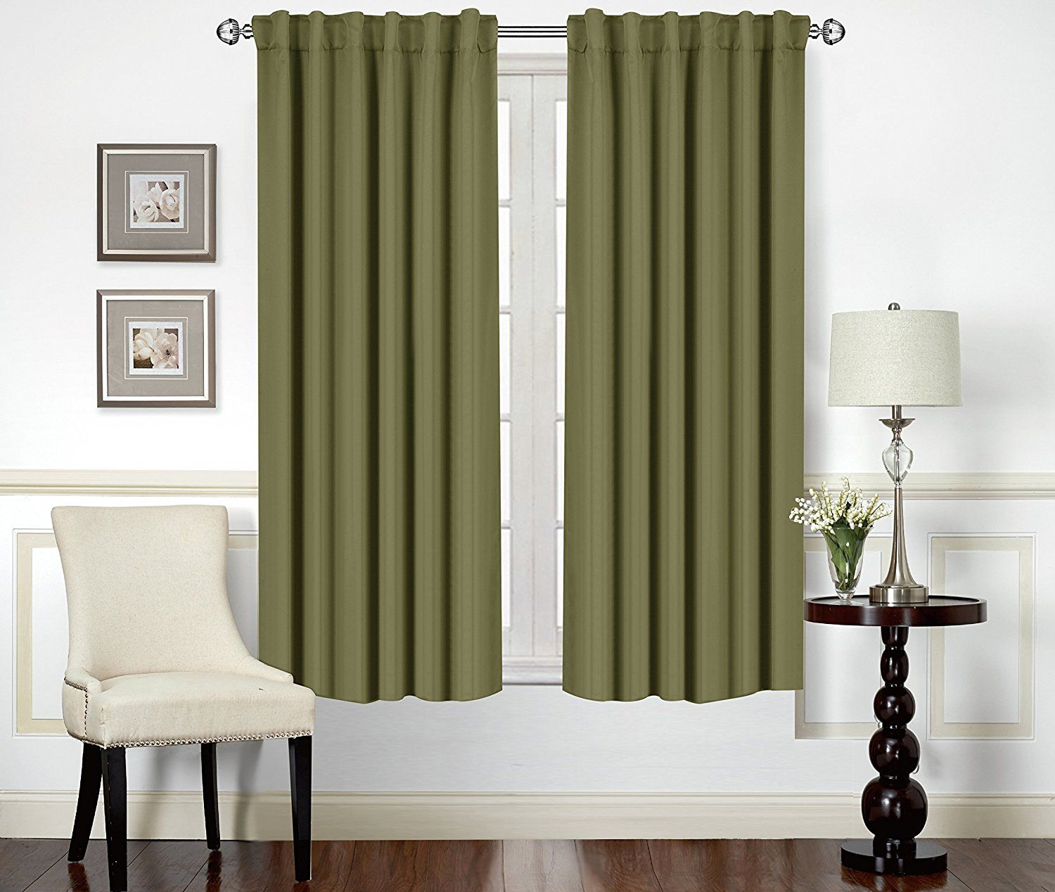 Blackout room darkening curtains window panel drapes olive color