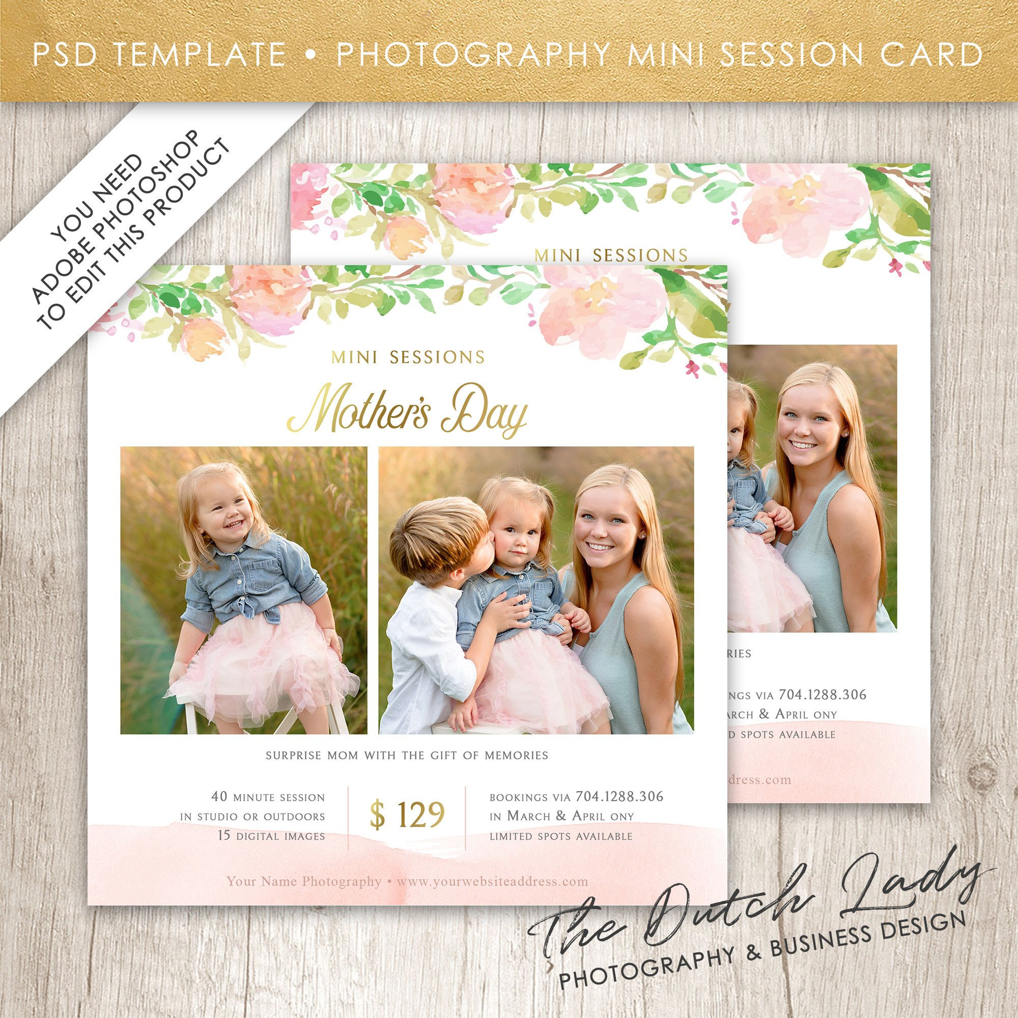 Mini Session Card Template Mother S Day Photography Etsy Card Template Graphic Design Company Card Design