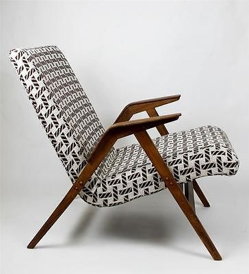 MCM German Retro Vintage Bent Edge Arm Lounge Chair Refreshed