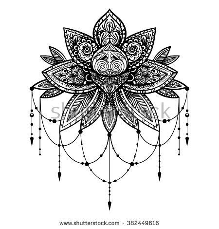 Vector Black And White Tattoo Lotus Illustration ...