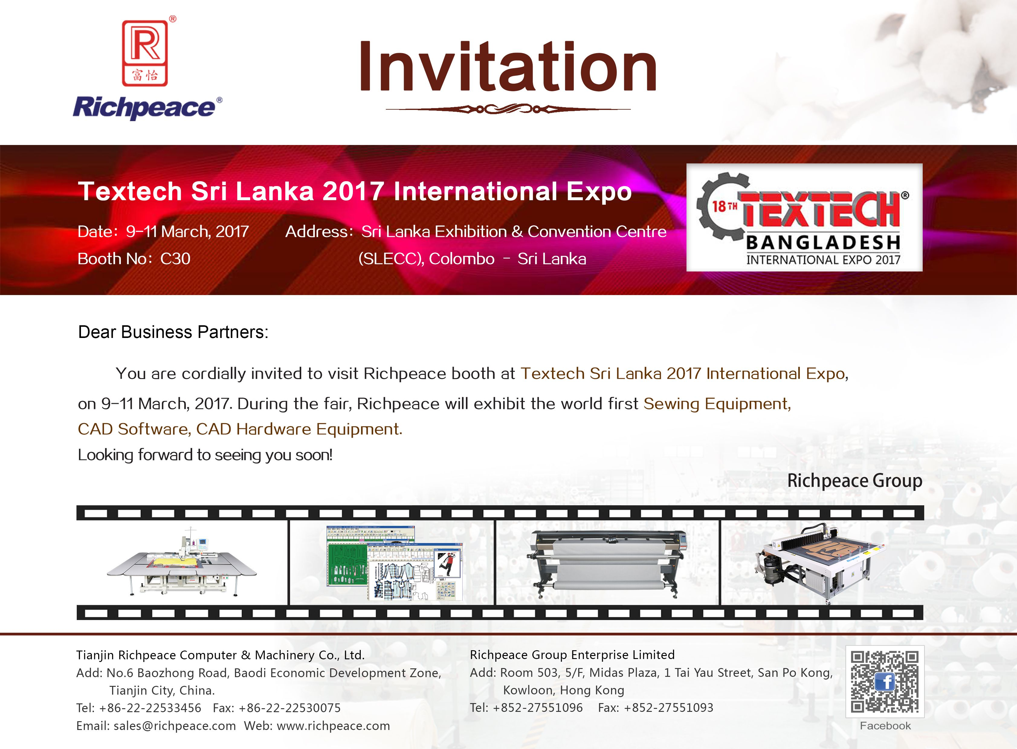Richpeace sincerely invite you to visit the textech sri lanka 2017 richpeace sincerely invite you to visit the textech sri lanka 2017 international expo we will stopboris Choice Image