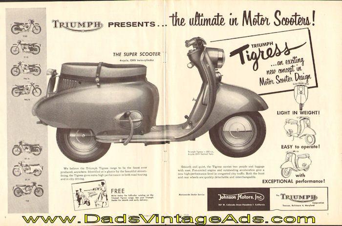 1959 triumph tigress motor scooter advertisement | vintage triumph