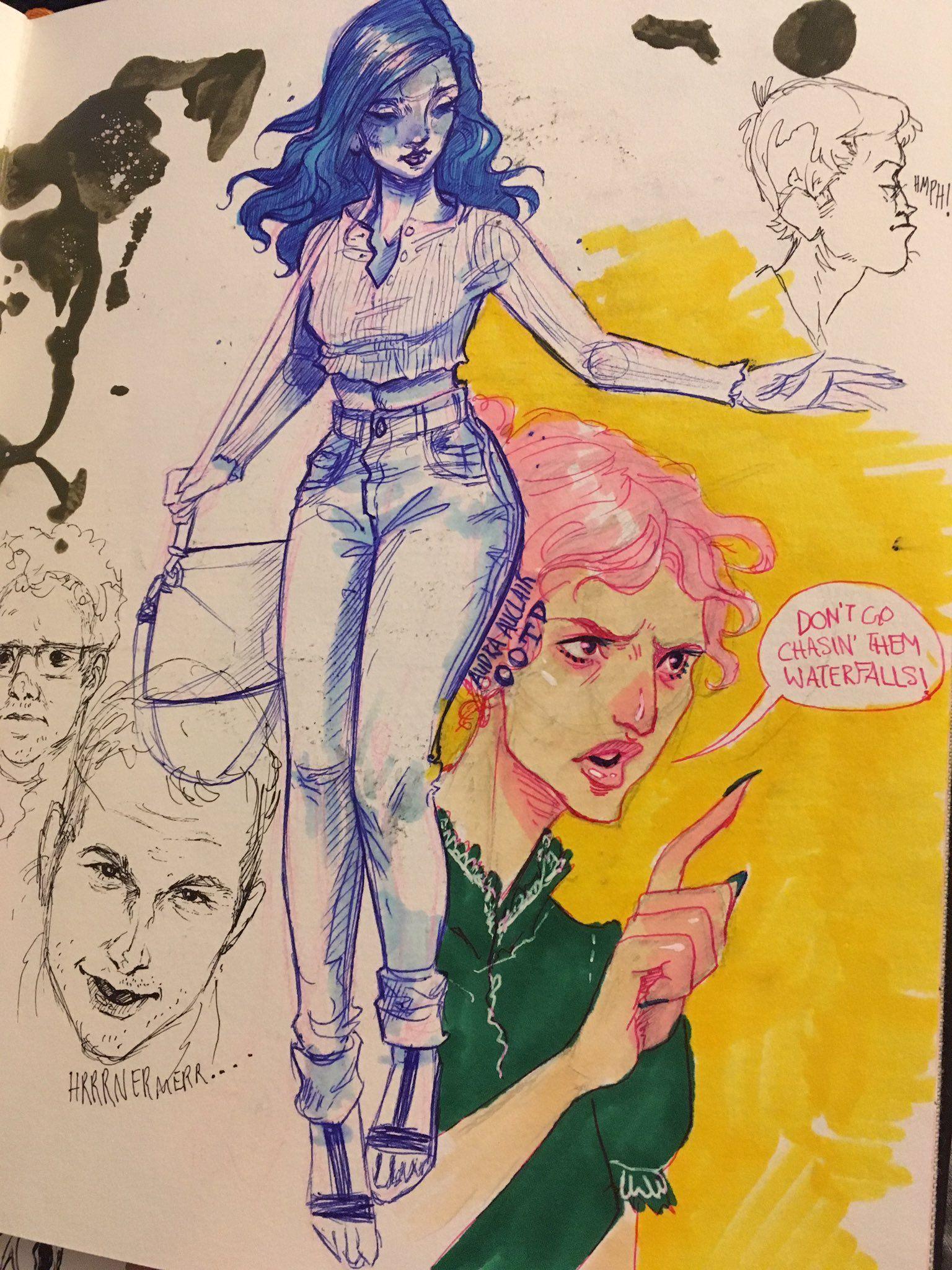 Audra Auclair Akvarel Nabrosok Eskiz Sketch Karandash Sinyaya Ruchka Eskizy Personazhej Illyustracii Art Risunki