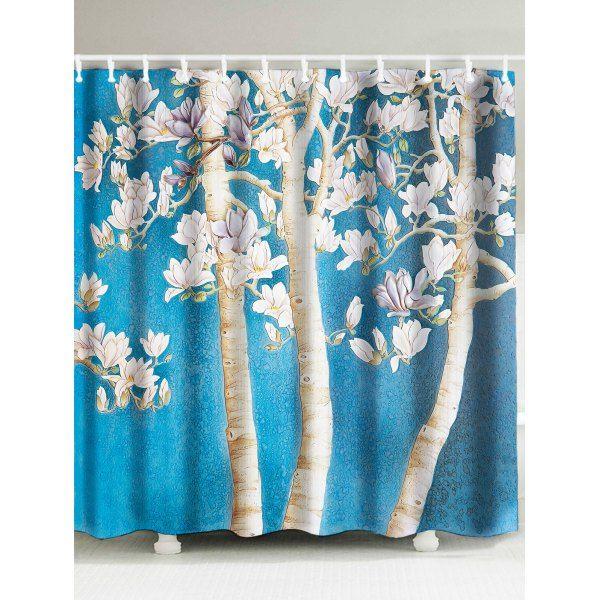 $15.15 Peach Blossom Waterproof Fabric Shower Curtain   Light Blue