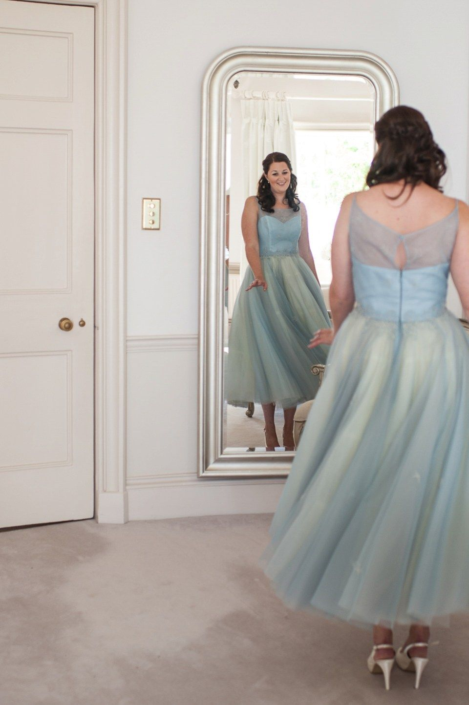 A pretty pale blue wedding dress for a nautical inspired summer