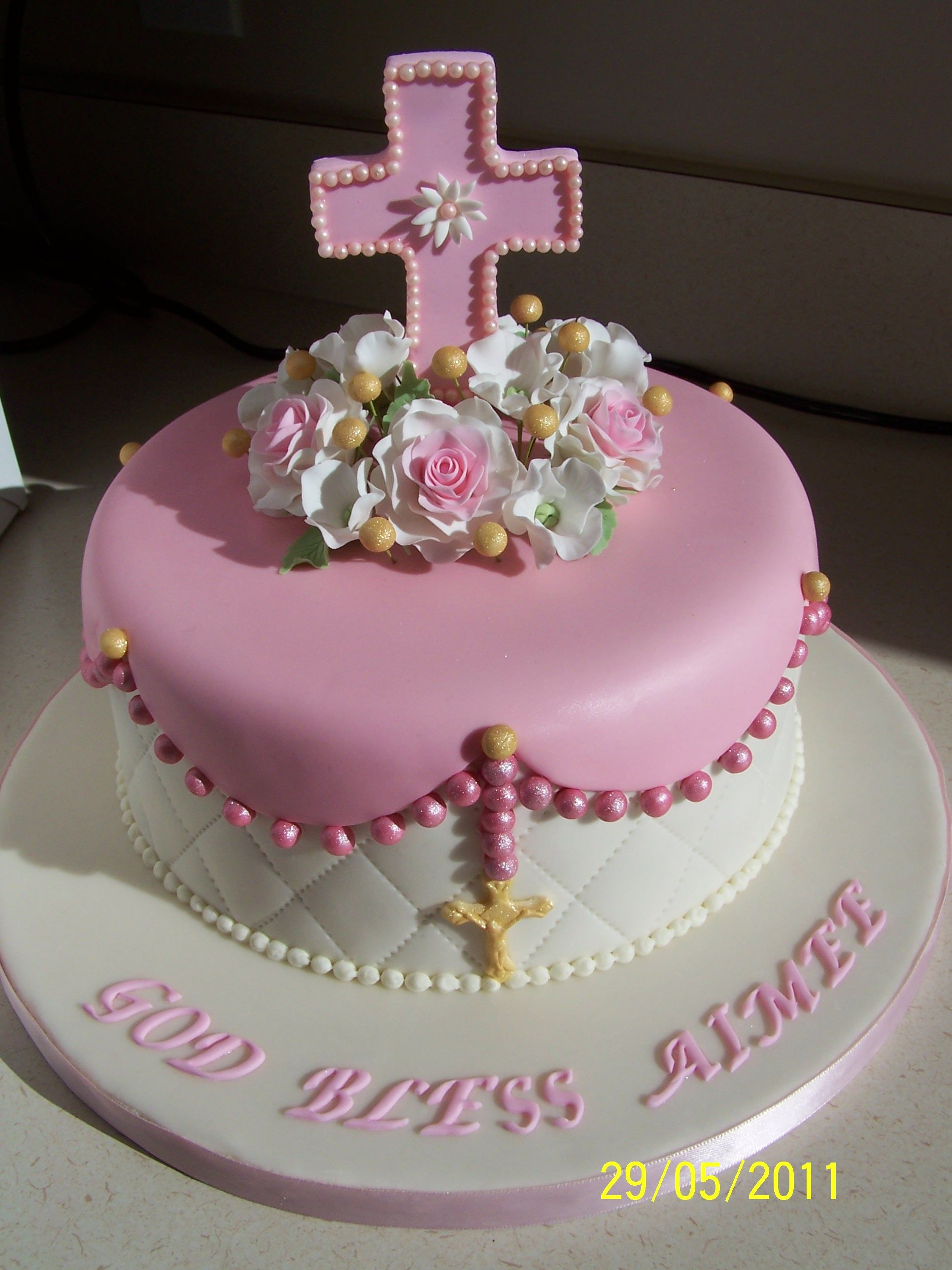 Aimee's First Communion - 8 inch chocolate cake, chocolate mousse filling and chocolate buttercream covered in MMF with gumpaste decorations. TFL.