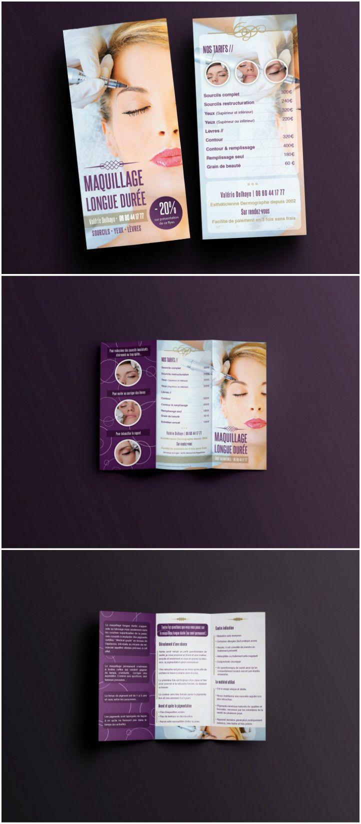 Maquilleuse Graphisme Et Impression L Imaginee Maquillage Permanent Depliant Depliant 3 Volets