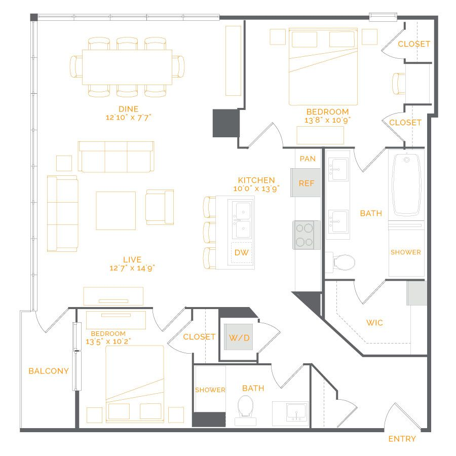 Dorado Alternate 2 Bed Bath 1 270 Sq Ft Starting At 5 050 Mo Apartment 2 Bedroom Apartment Luxurious Bedrooms