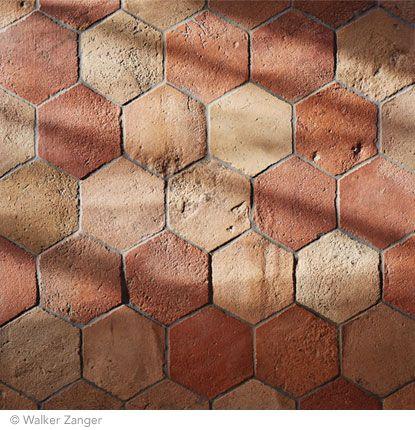 Antique Terracotta tiles | Ceramic and terracotta collection by Walker Zanger | 6'' Hexagon in Brunello Blend