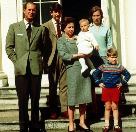 Prince Philip, Prince Charles, Princess Anne, Queen Elizabeth, Prince Edward and Prince Andrew at Windsor 1965