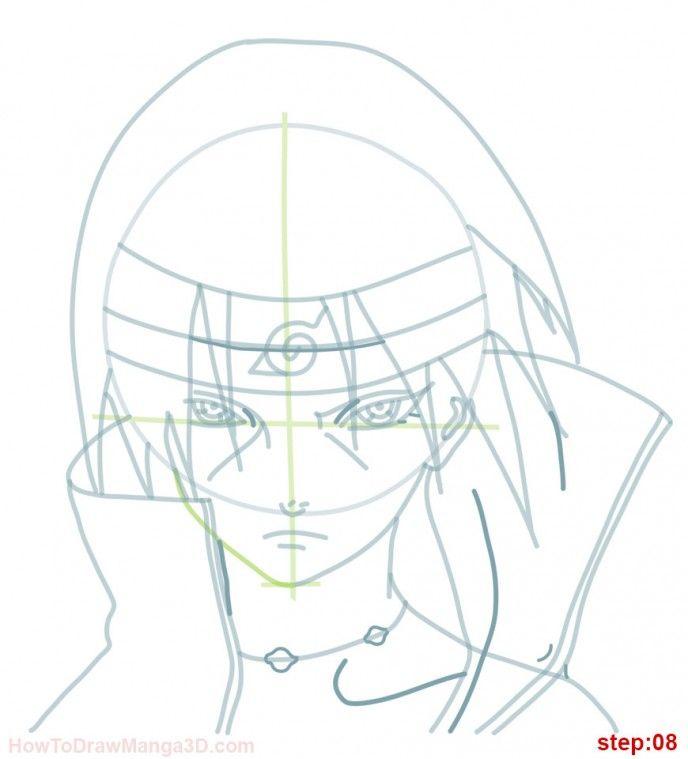 How to draw Itachi from Naruto step 08 | kurama uchiwa | Pinterest ...