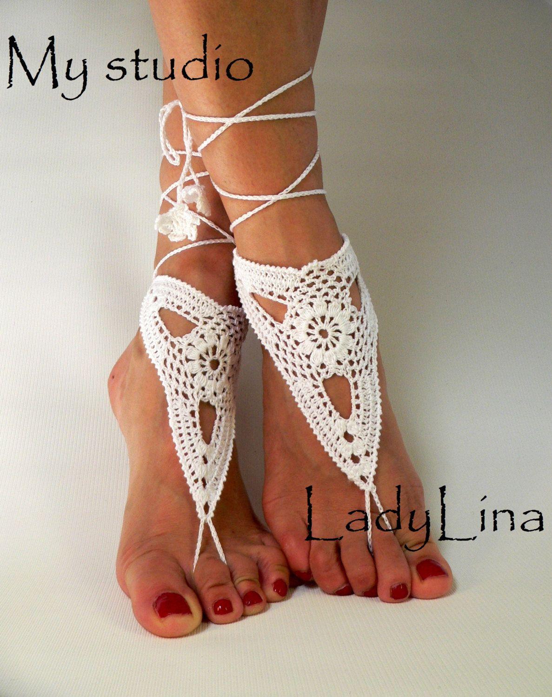 Crochet Barefoot Sandles Foot jewelry Wedding Crochet Sandals