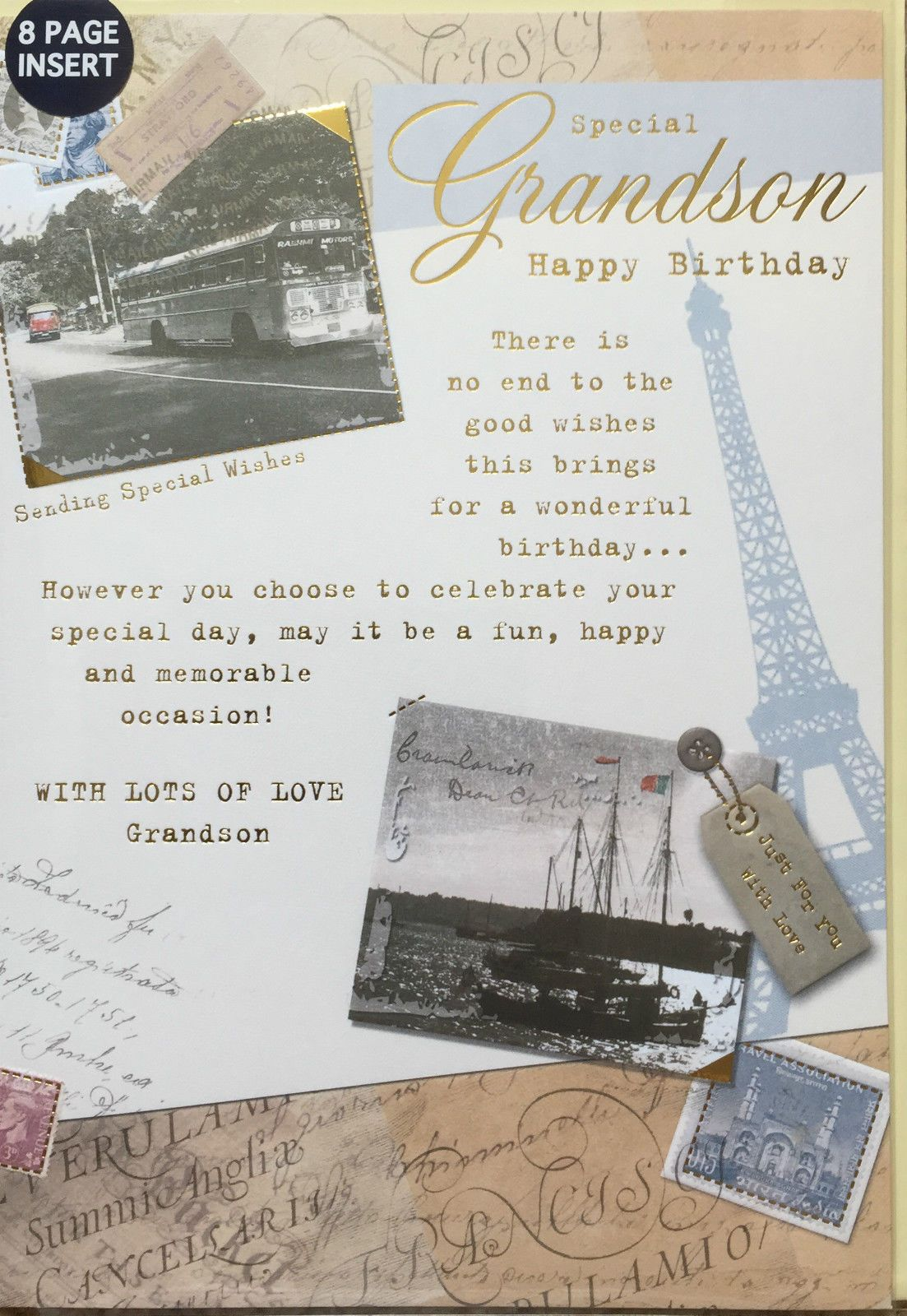 Special Grandson Happy Birthday Card 8 Page Insert Lovely Verse