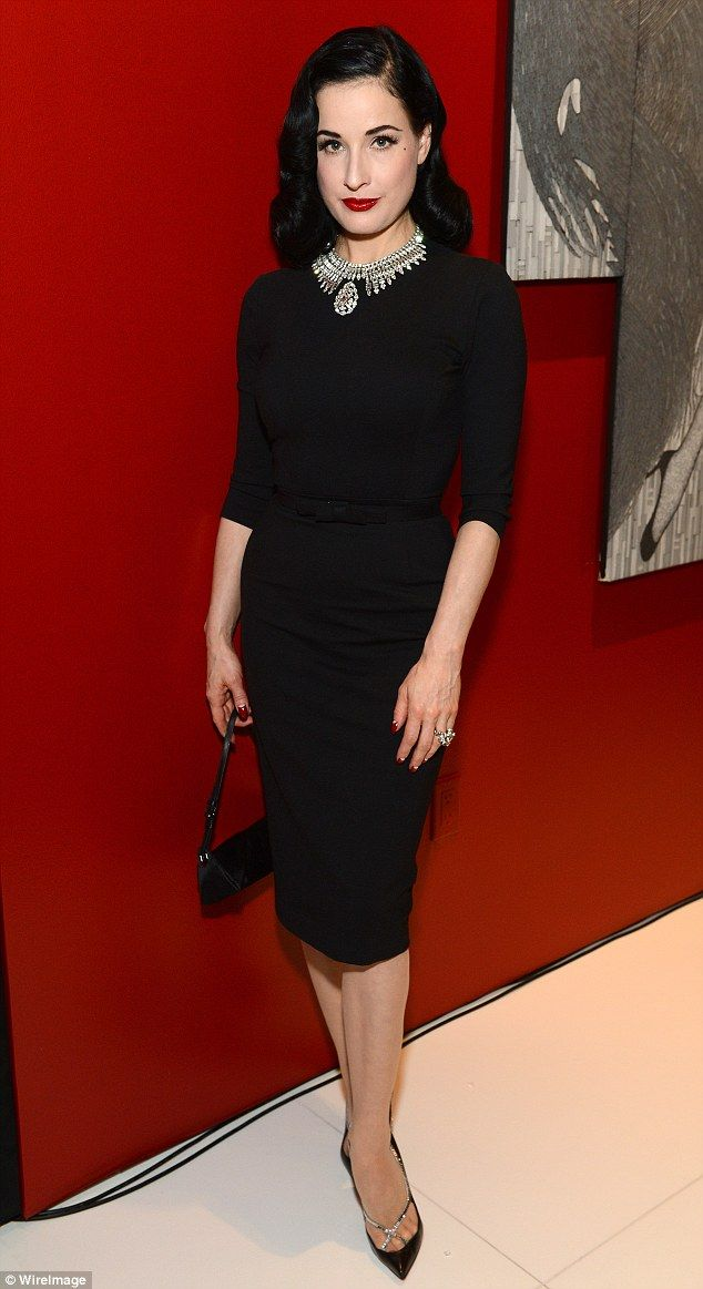 Bedazzling Dita Von Teese Plays The Vamp In Retro Pencil Skirt And