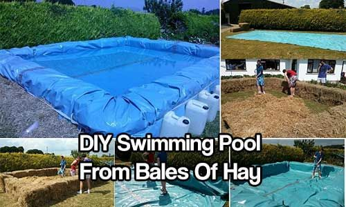oooo could this method be used for DIY skating rink too?   DIY Swimming Pool From Bales Of Hay