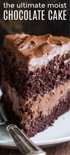 A decadent and moist Chocolate Cake recipe with the easiest whipped Chocolate Frosting. Homem... A decadent and moist Chocolate Cake recipe with the easiest whipped Chocolate Frosting. Homemade chocolate cake makes for a stunning birthday cake.
