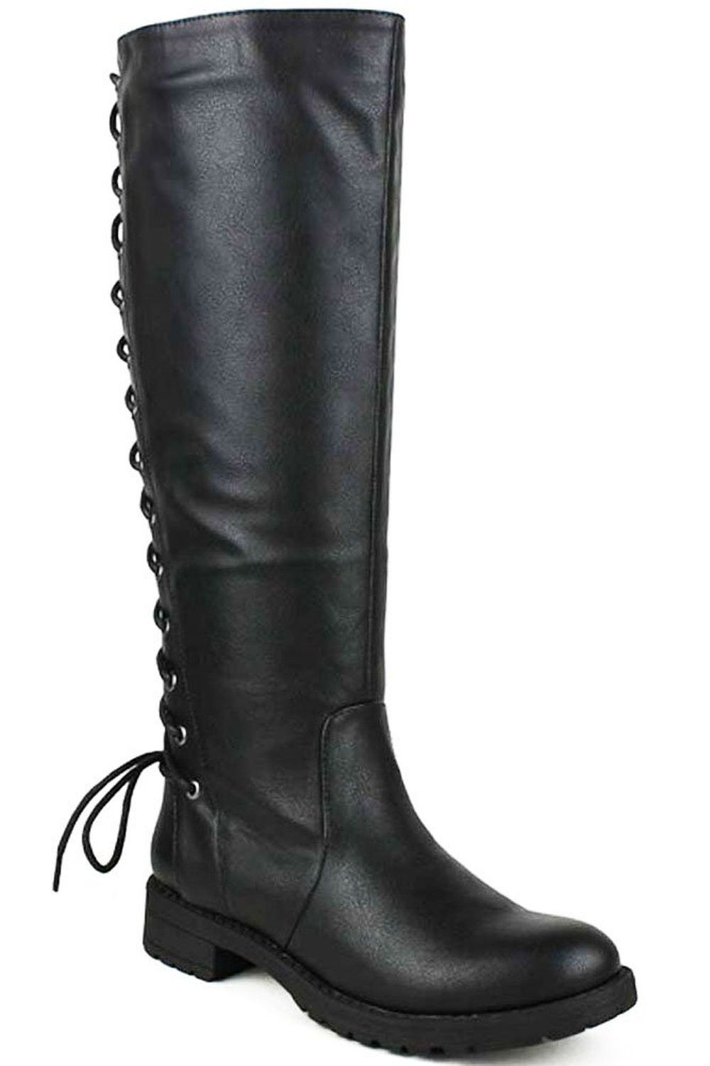 6549542c2a5 Back Lace Up Knee High Boots Winter Boots Womens Vegan