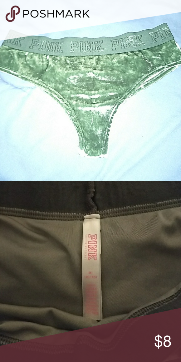 f60a58773a Pink VS Velvet Thong NWT Pink VS Velvet Army Green Thong PINK Victoria s  Secret Intimates