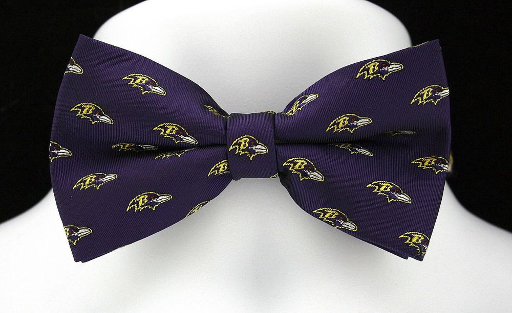 5ab86a32 New Baltimore Ravens Logo Mens Bow Tie Pre Tied Adjustable NFL ...