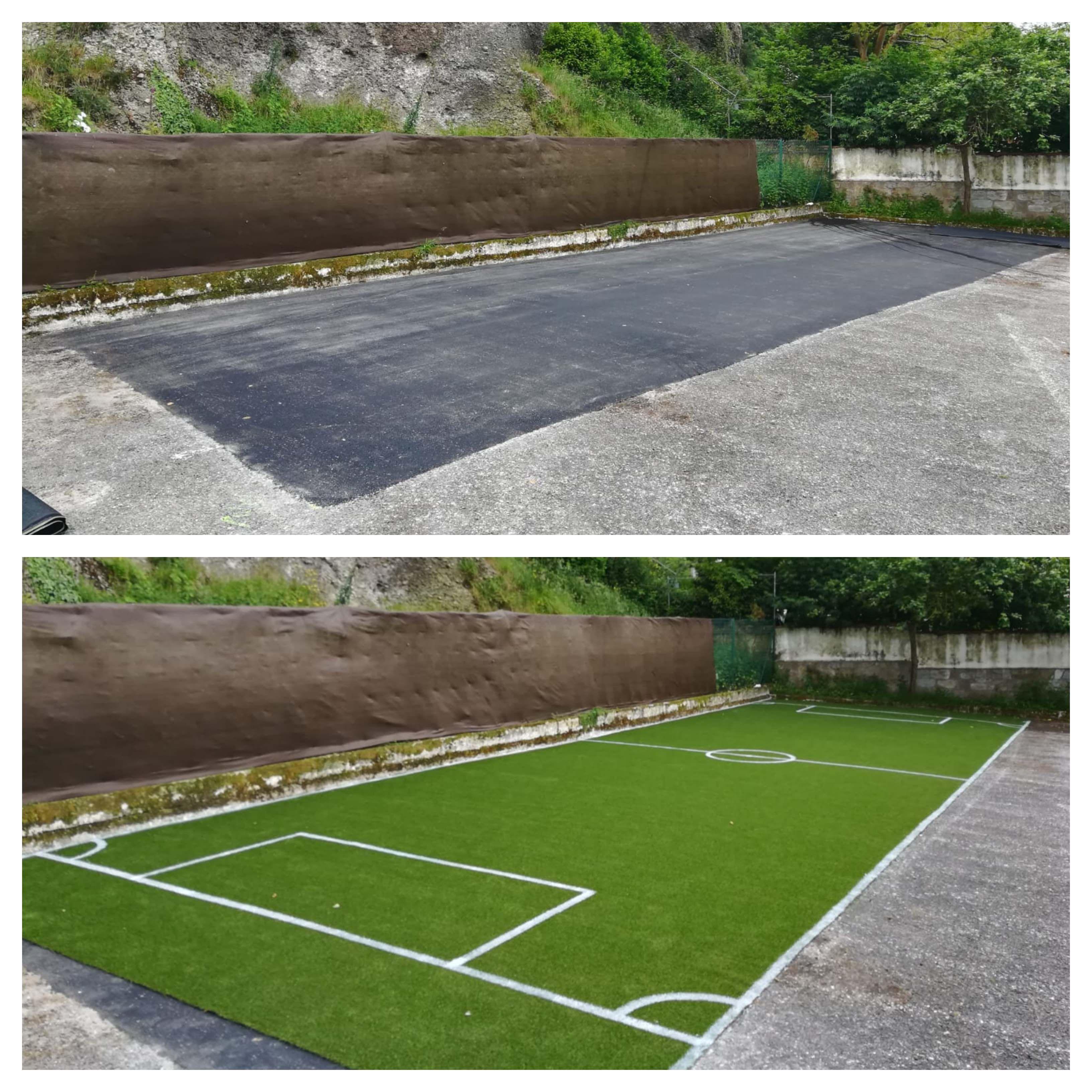 Instalación De Mini Campo De Fútbol En El Restaurante