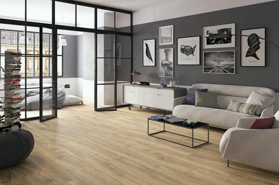 fliesen holzoptik gemütlich loft style beinkofer Wohnzimmer