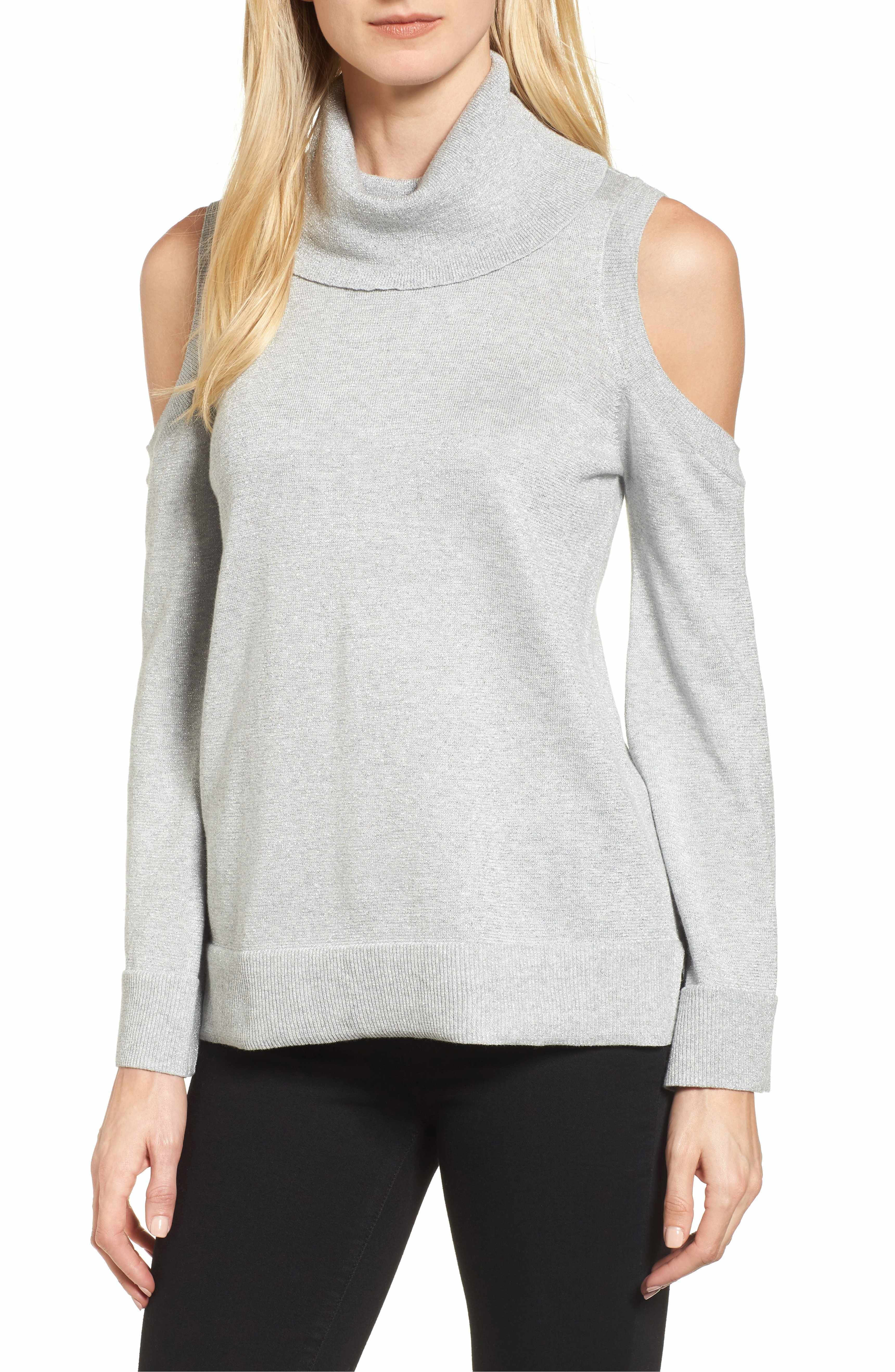 Metallic Cold Shoulder Cowl Neck Sweater | Cowl neck, Cold ...