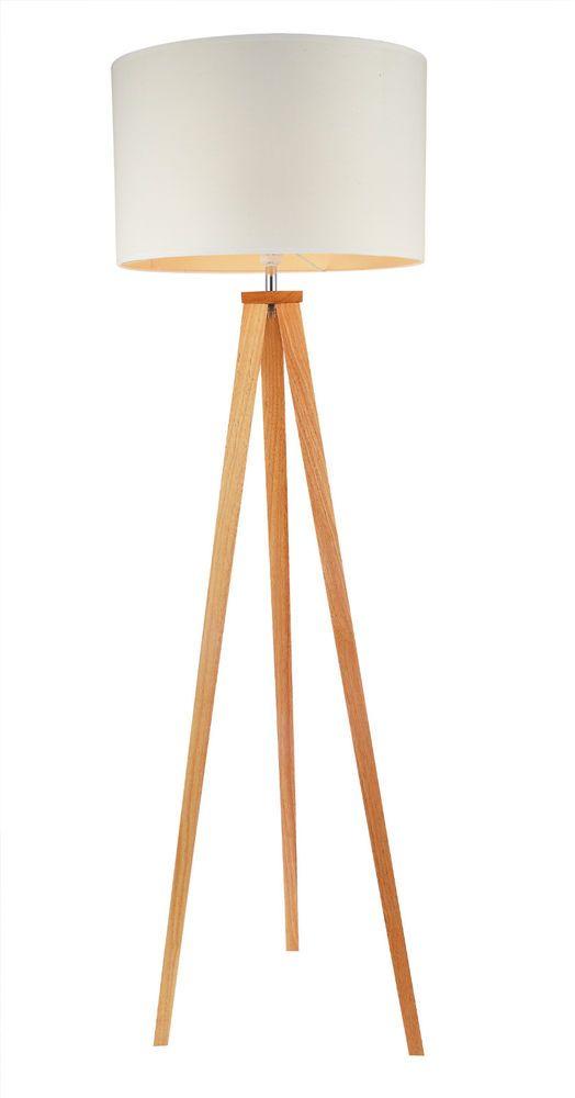 Tripod Stehlampe Stehleuchte weiss Holz Standlampe Design