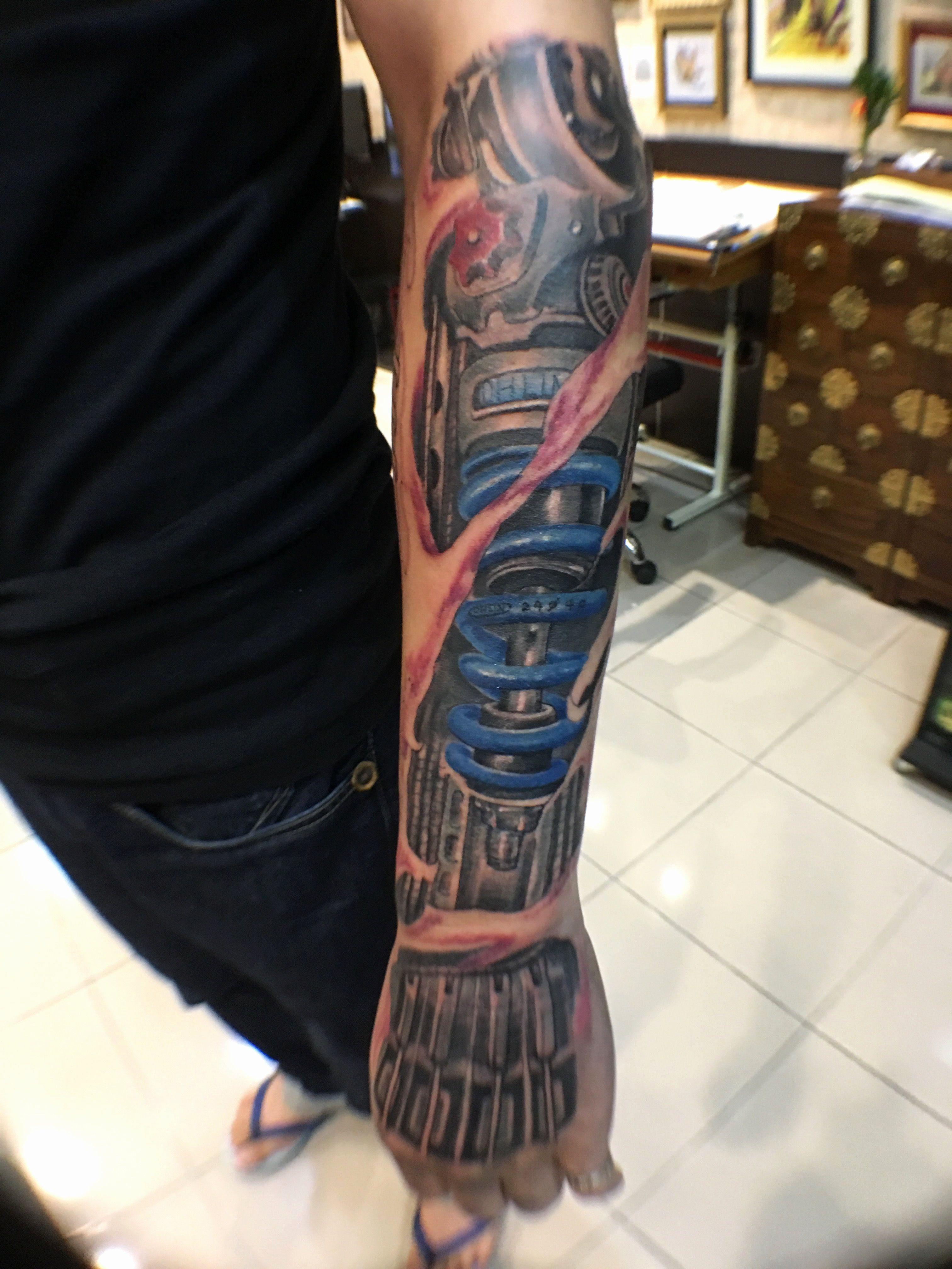 Biomechanical Head Tattoos Beautiful Mechanical Tattoo