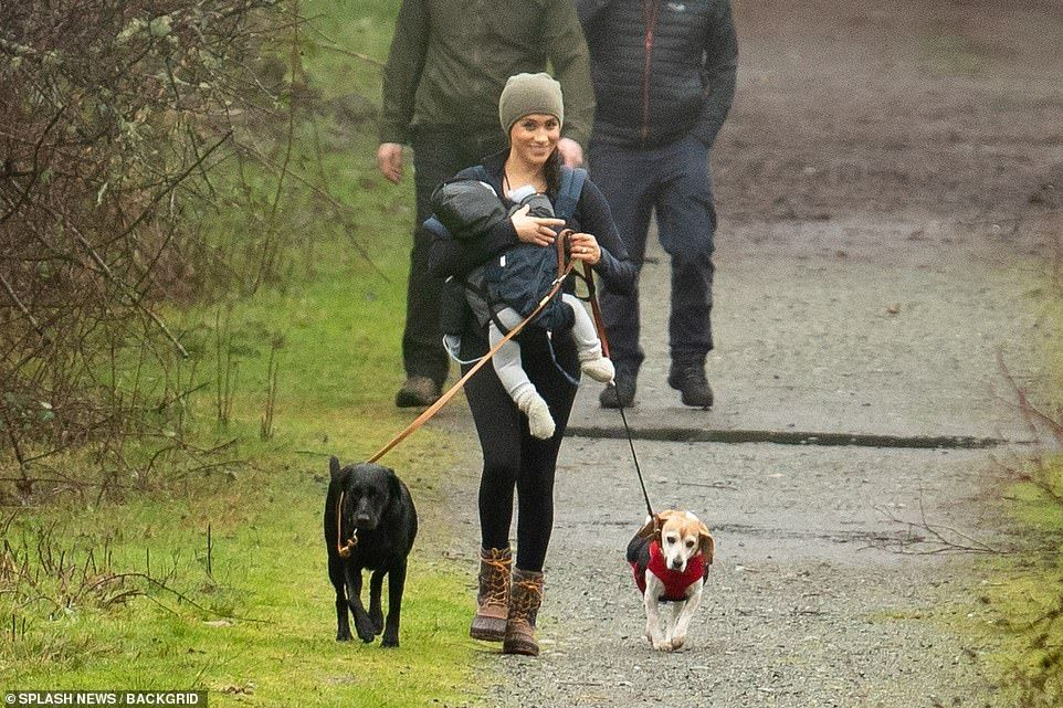 Meghan Beams While Carrying Archie And Walking Dogs In Vancouver