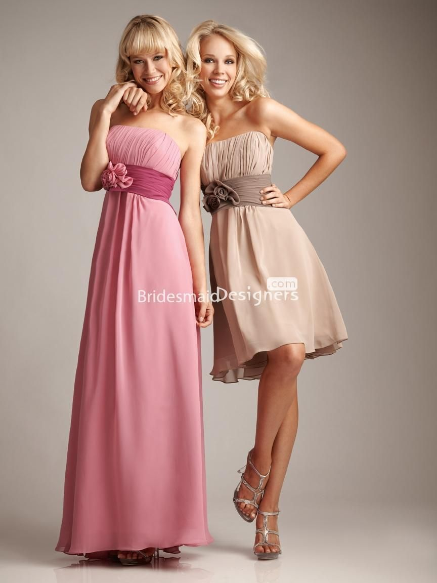 Charming sleeveless cocktail length empire aline pleated chiffon