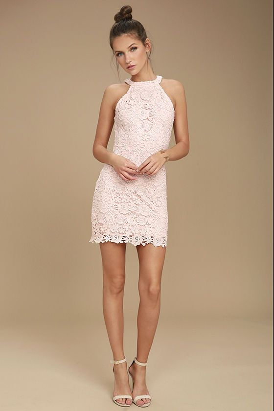 10fc10a6af2 Lulus Exclusive! You ll be collecting notes from secret admirers right and  left when you don the Love Poem Blush Pink Lace Dress! A lively pattern of  floral ...