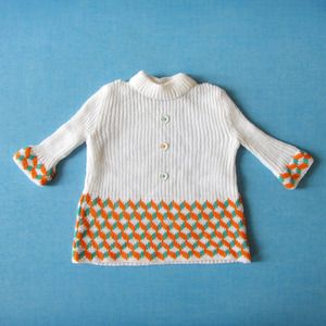 robe rondin picotin T3/6 MOIS années 60 // vintage sweater dress size 3/6 months