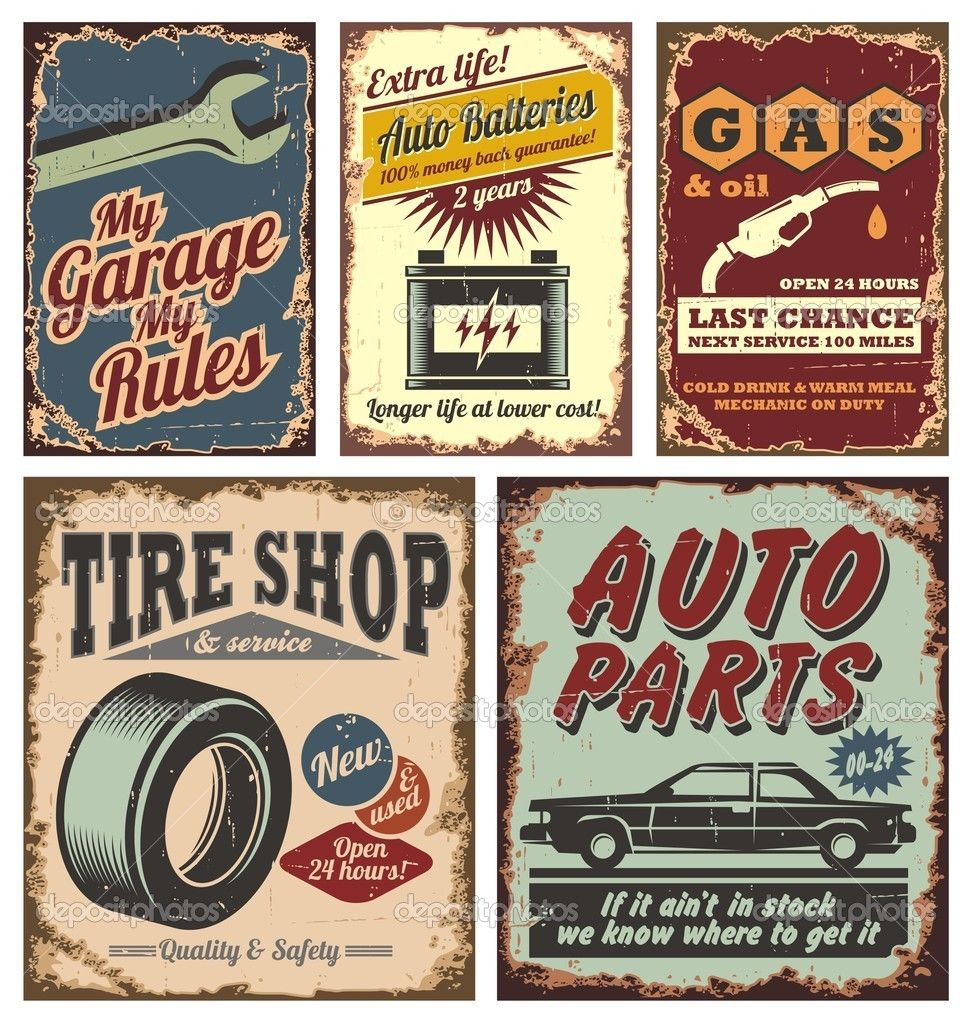 Car Old Garage Signs : Cars signs vintage car metal and posters stock