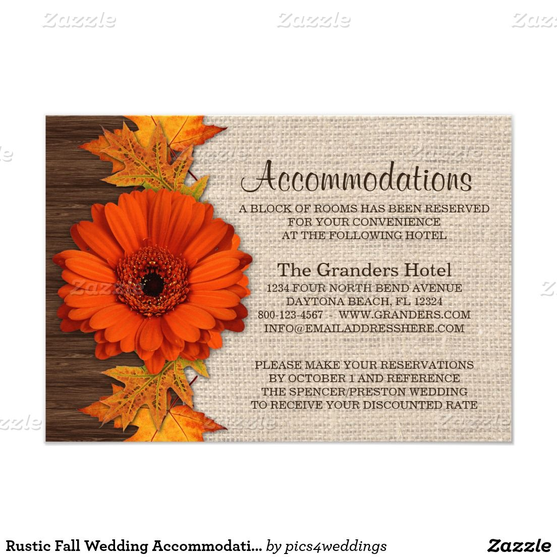 Rustic Fall Wedding Accommodations Cards | Accommodations card, Fall ...