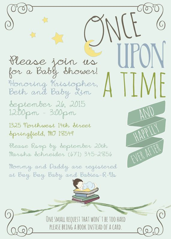 Printable Or Printed Book Themed Baby Shower Party Invitation Once Upon A Time Story Lite