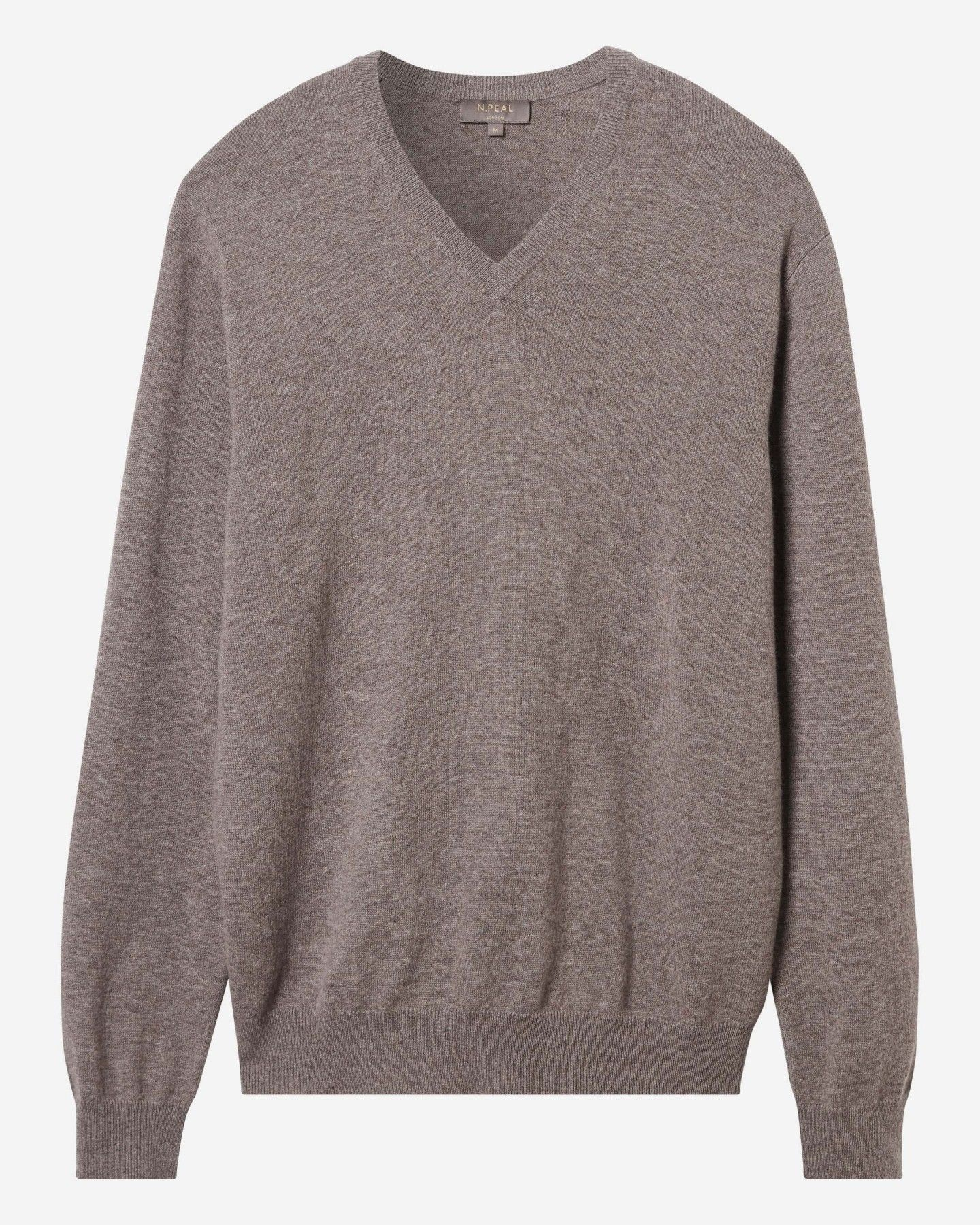75231d6953e2ee The Burlington V Neck 1ply Cashmere Sweater £269 Taupe Brown | N.Peal,
