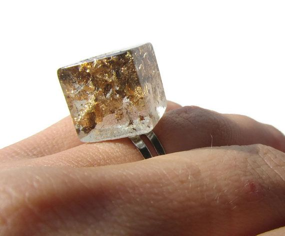 Cube Resin Ring Real Golden Flakes Resin Ring Statement Resin Ring Adjustable Resin Ring Gold Flakes Resin Jewelry Eco-friendly Resin Ring